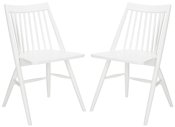Set of 2 Wren Spindle Dining Chairs, White