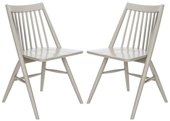 Set of 2 Wren Spindle Dining Chairs, Grey