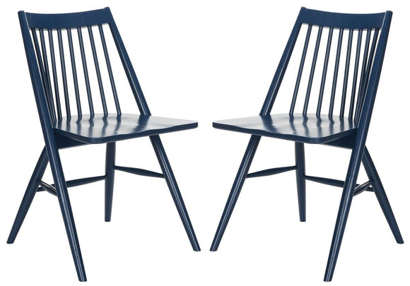 Set of 2 Wren Spindle Dining Chairs, Navy