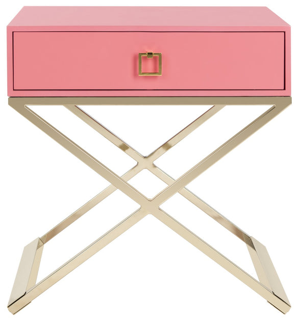 Zarina Modern Cross Leg End Table, Pink