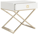 Zarina Modern Cross Leg End Table, White