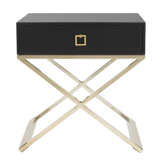 Zarina Modern Cross Leg End Table, Black