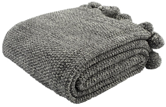 Dark Gray/Natural Cotton Throw
