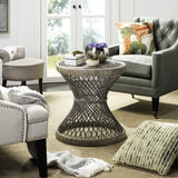 Grimson Small Bowed Accent Table, Grey White Wash