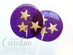 Purple and Gold Star Lollipops - Set of 6 - Sweet Caroline Confections | The Original Sparkle Lollipops