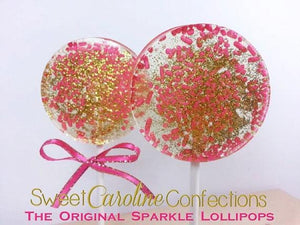 Hot Pink and Gold Sparkle Lollipops - Set of 6 - Sweet Caroline Confections | The Original Sparkle Lollipops
