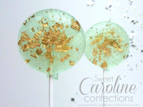 Mint Green and Gold Sparkle Lollipops - Set of 6 - Sweet Caroline Confections | The Original Sparkle Lollipops