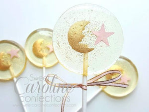 Baby Shower Gold Moon and Pink Star Lollipops - Set of 6 - Sweet Caroline Confections | The Original Sparkle Lollipops