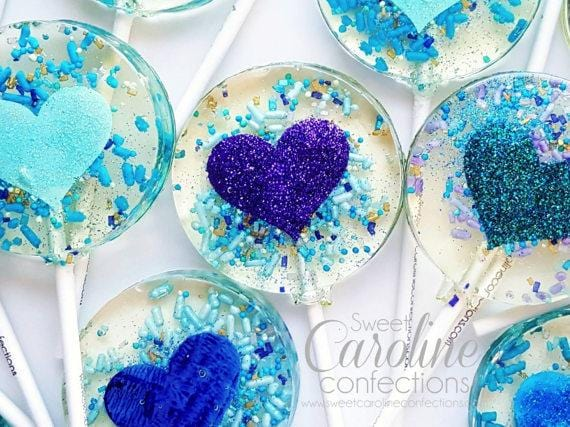Teal Purple and Blue Heart Lollipops - Set of 6 - Sweet Caroline Confections | The Original Sparkle Lollipops