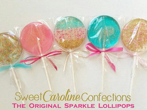 Aqua Pink & Gold Lollipop Collection - Set of 25 - Sweet Caroline Confections | The Original Sparkle Lollipops