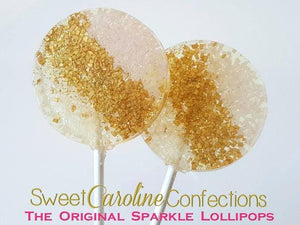 Pink Gold Ivory Sparkle Lollipops - Set of 6 - Sweet Caroline Confections | The Original Sparkle Lollipops