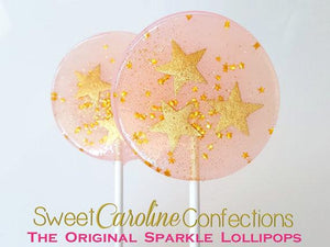 Pink and Gold Star Lollipops - Set of 6 - Sweet Caroline Confections | The Original Sparkle Lollipops