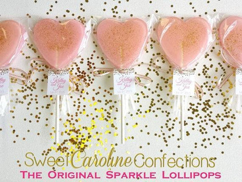 Light Pink Sparkle Lollipops with Tags - Set of 6 - Sweet Caroline Confections | The Original Sparkle Lollipops