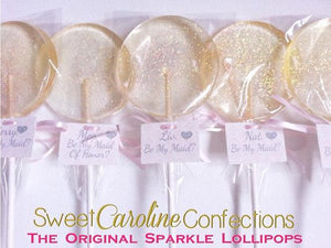 Light Pink Sparkle Lollipops with Tags- Set of 6 - Sweet Caroline Confections | The Original Sparkle Lollipops