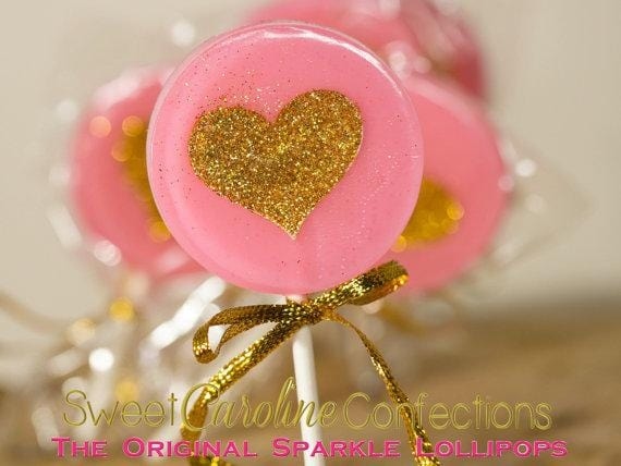 Bright Pink and Gold Heart Lollipops - Set of 6 - Sweet Caroline Confections | The Original Sparkle Lollipops