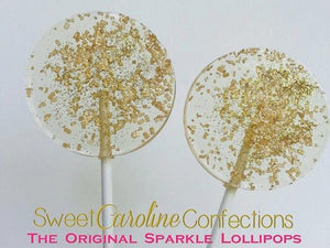 BEST SELLER-Gold Wedding Sparkle Lollipops - Set of 6 - Sweet Caroline Confections | The Original Sparkle Lollipops