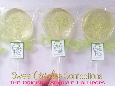 Lime Green Sparkle Lollipops with Tags- Set of 6 - Sweet Caroline Confections | The Original Sparkle Lollipops