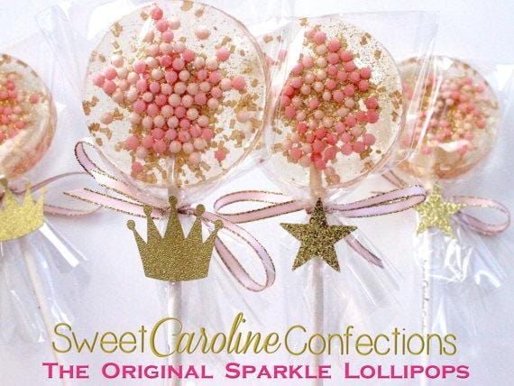 Pink and Gold Lollipops with Tags- Set of 6 - Sweet Caroline Confections | The Original Sparkle Lollipops