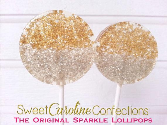 Gold and Silver Sparkle Lollipops - Set of 6 - Sweet Caroline Confections | The Original Sparkle Lollipops