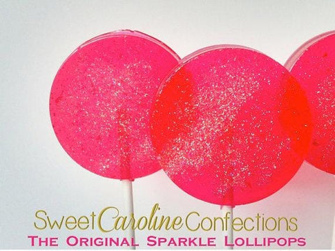 Hot Pink Sparkle Lollipops - Set of 6 - Sweet Caroline Confections | The Original Sparkle Lollipops