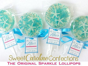 Aqua Beach Wedding Lollipops with Tags - Set of 6 - Sweet Caroline Confections | The Original Sparkle Lollipops
