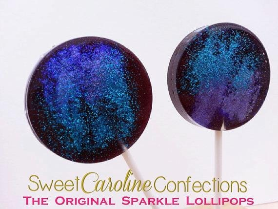 Black+Blue+Purple Lollipops - Set of 6 - Sweet Caroline Confections | The Original Sparkle Lollipops