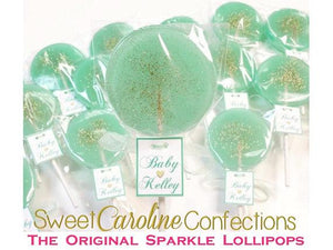 Aqua and Gold Lollipops with Tags- Set of 6 - Sweet Caroline Confections | The Original Sparkle Lollipops