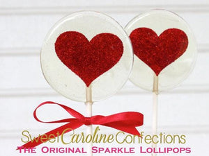Red Heart Lollipops - Set of 6 - Sweet Caroline Confections | The Original Sparkle Lollipops
