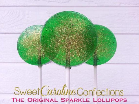Green and Gold Sparkle Lollipops - Set of 6 - Sweet Caroline Confections | The Original Sparkle Lollipops