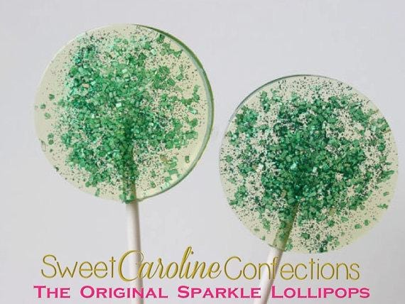 Green Sparkle Lollipops - Set of 6 - Sweet Caroline Confections | The Original Sparkle Lollipops