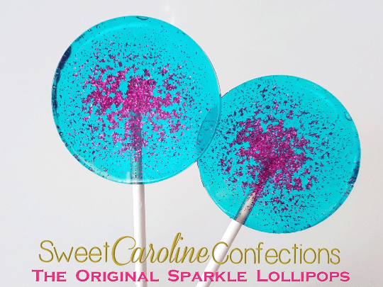 Aqua and Fuchsia Sparkle Lollipops - Set of 6 - Sweet Caroline Confections | The Original Sparkle Lollipops