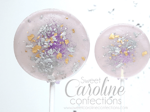 Purple+Gold+Silver Sparkle Lollipops - Set of 6 - Sweet Caroline Confections | The Original Sparkle Lollipops