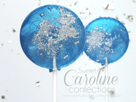 Blue and Silver Sparkle Lollipops - Set of 6 - Sweet Caroline Confections | The Original Sparkle Lollipops