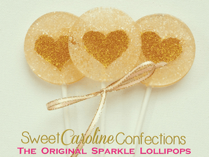 Citrine and Gold Heart Lollipops - Set of 6 - Sweet Caroline Confections | The Original Sparkle Lollipops
