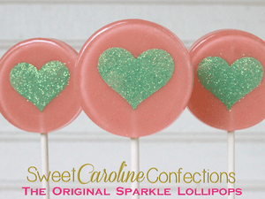Mint and Coral Heart Lollipops - Set of 6 - Sweet Caroline Confections | The Original Sparkle Lollipops