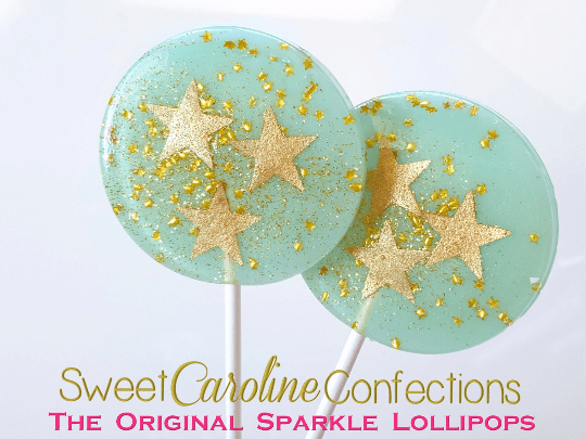 Light Blue and Gold Star Lollipops - Set of 6 - Sweet Caroline Confections | The Original Sparkle Lollipops