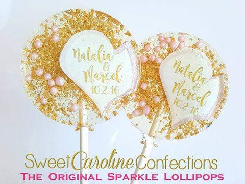 Pink and Gold Half Heart Lollipops- Set of 6 - Sweet Caroline Confections | The Original Sparkle Lollipops