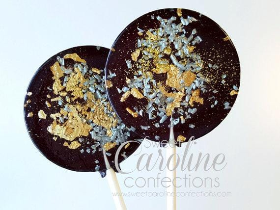 Black Silver and Gold Sparkle Lollipops - Set of 6 - Sweet Caroline Confections | The Original Sparkle Lollipops