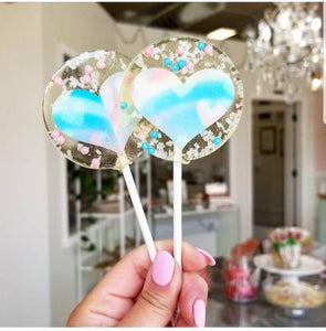 Rainbow Heart Lollipops - Cotton Candy - Set of 6