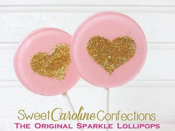 Light Pink and Gold Heart Lollipops - Set of 6 - Sweet Caroline Confections | The Original Sparkle Lollipops