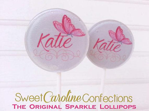 Purple Butterfly Lollipops - Set of 6 - Sweet Caroline Confections | The Original Sparkle Lollipops