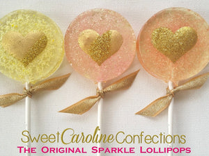 Pastel Heart Sparkle Lollipops - Set of 6 - Sweet Caroline Confections | The Original Sparkle Lollipops