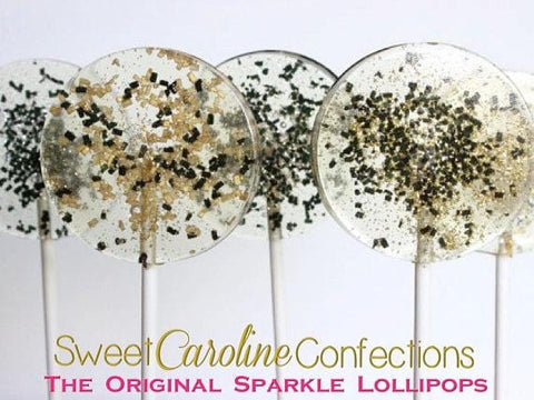 Gold Silver Black Sparkle Lollipops - Set of 6 - Sweet Caroline Confections | The Original Sparkle Lollipops