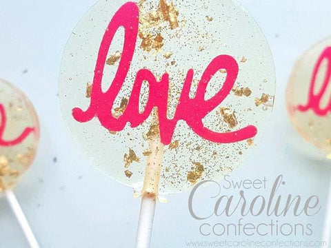 Hot Pink and Gold Love Lollipops - Set of 6 - Sweet Caroline Confections | The Original Sparkle Lollipops