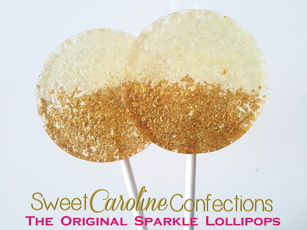 Gold and Ivory Sparkle Lollipops - Set of 6 - Sweet Caroline Confections | The Original Sparkle Lollipops