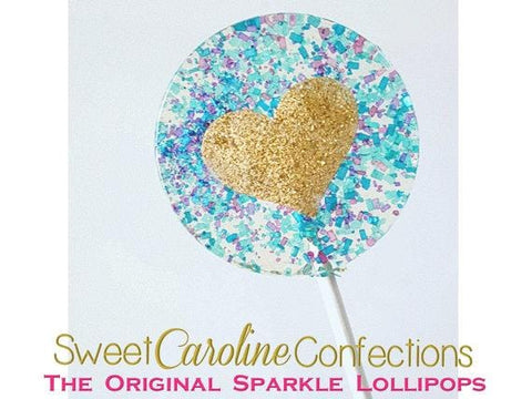Blue and Gold Heart Lollipops - Set of 6 - Sweet Caroline Confections | The Original Sparkle Lollipops
