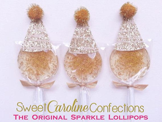 Gold Lollipops with Birthday Hat - Set of 6 - Sweet Caroline Confections | The Original Sparkle Lollipops
