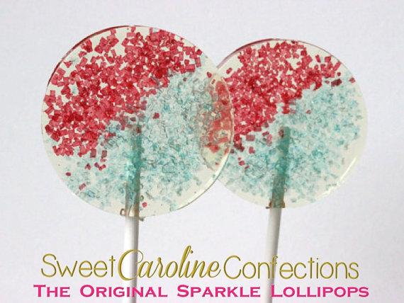Blue and Red Sparkle Lollipops - Set of 6 - Sweet Caroline Confections | The Original Sparkle Lollipops