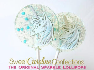 Light Blue and Silver Unicorn - Set of 6 - Sweet Caroline Confections | The Original Sparkle Lollipops