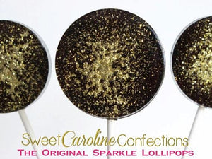 Black and Gold Sparkle Lollipops - Set of 6 - Sweet Caroline Confections | The Original Sparkle Lollipops